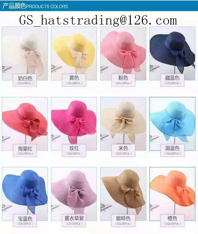 fashion lady summer straw big floppy hat with long brim with bow