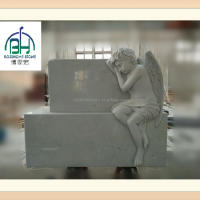 Hunan White Cherub Statue Headstone Customized
