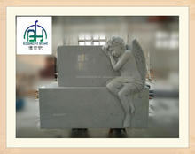 Hunan white cherub statue headstone, customized angel statue tombstone and monument