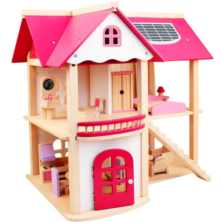 2017 New design assembly wood doll house pink color for kids