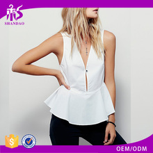 2016 Guangzhou Shandao Bulk Wholesale Fashion Design Summer Casual Sleeveless V Neck White Cotton Women Frock Top