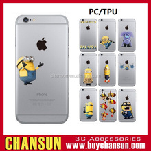 factory price have in stock cell phone cute minion clear printing tpu case for iphone 6