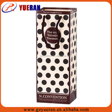 Custom luxury handmade single glass bottle polka dot wine bottle paper bag with cotton handle
