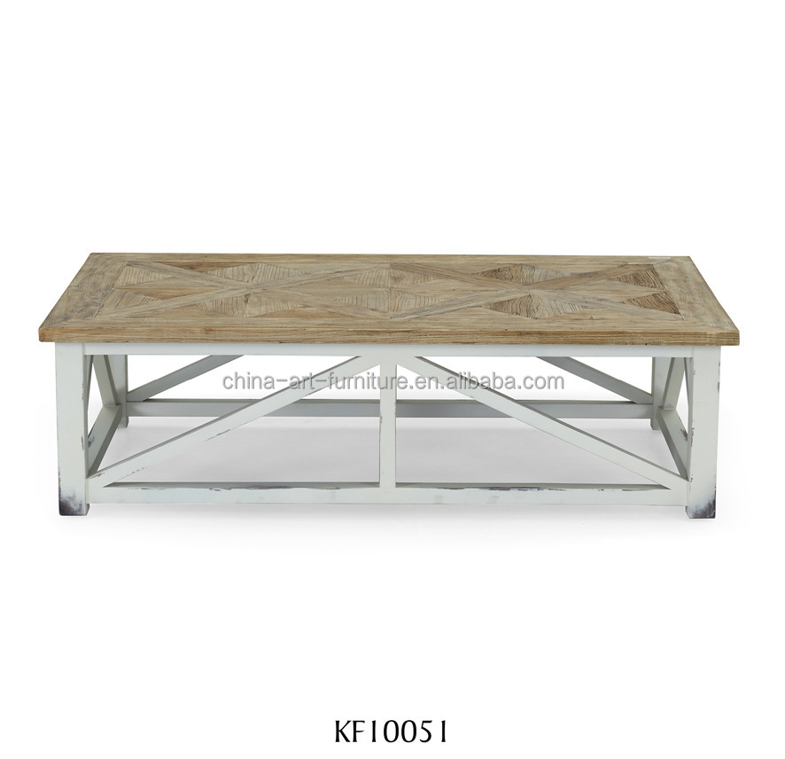 Hot sale solid wood coffee table with parquet top <strong>and</strong> white base, rectangular sofa table, antique living room furniture