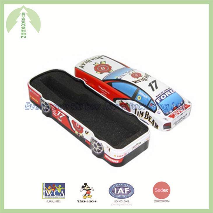 Car shape tin box with lift-off lid 30.00*11.00*10.00 cm