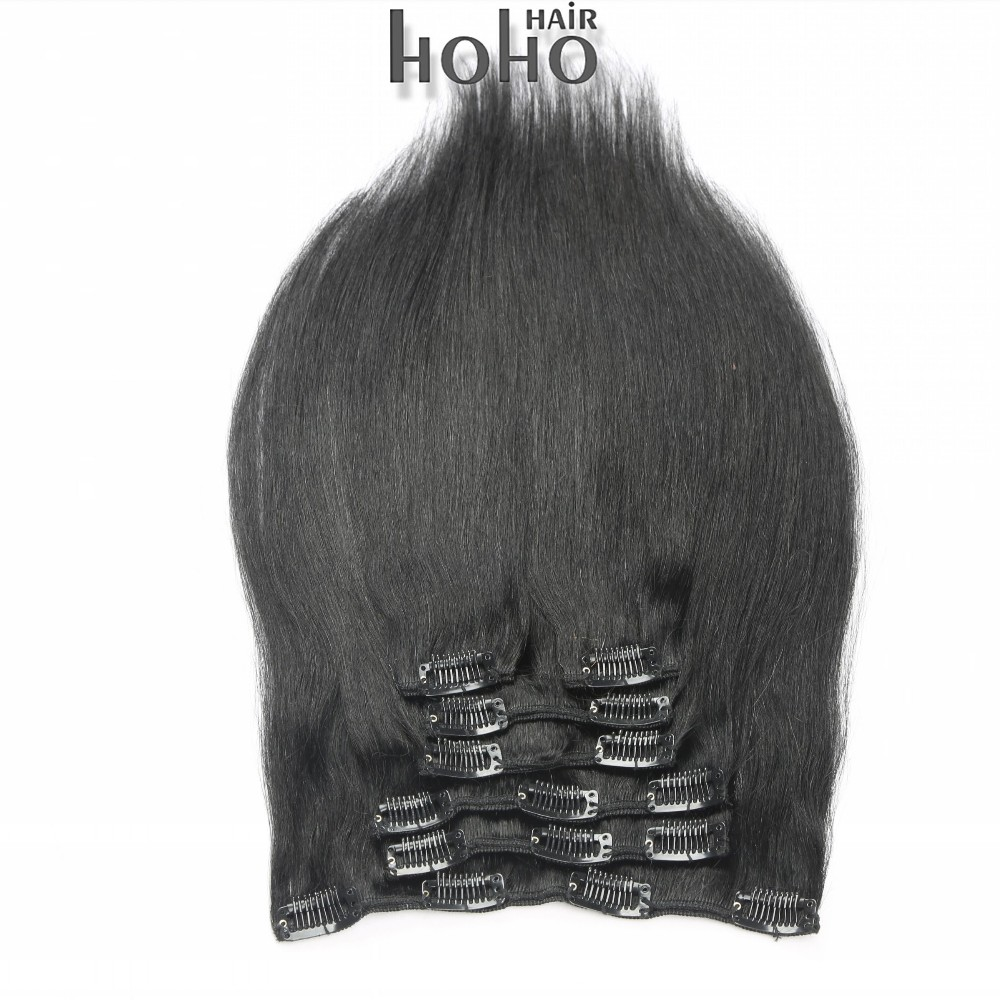 Top quality 26 inch jet black remy human hair clip in hair extensions
