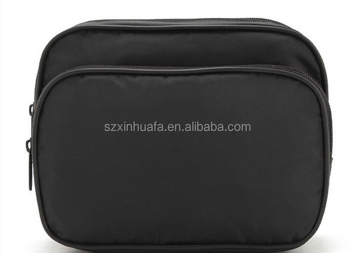 (XHF-COSMETIC-425)simple man toilet bag for travel toiletry bag for men black polyester with piping and zipper compartment