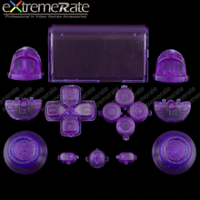 Cool interesting full buttons kits mod repair clear purple for PS4 controller replacement