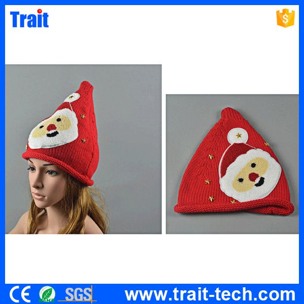Winter Kid Christmas Knitted Hat Santa Claus Pentagram Wool Turtleneck Hat for Boy and Girl
