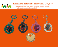 Customized metal key chains with decorated stones for sale