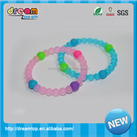 hot selling silicone bead bracelet pink blue color