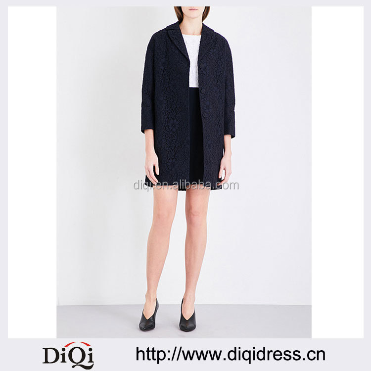 Wholesale Ladies Apparel Black Moden Style Relaxed Women Lace Coat(DQE0299C)