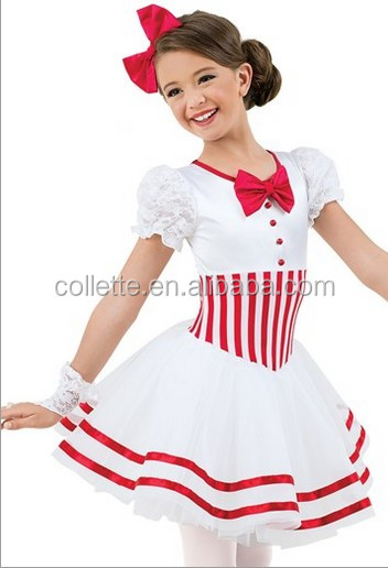 MBQ894 Adult white red stripe lyrical stage dancing tutu dress