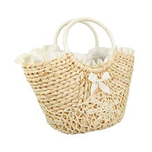 High quality wholesale promotion paper unisex straw foldable jute beach bag