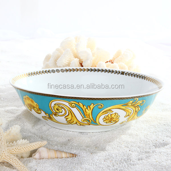 9 Inches Luxury Large Porcelain Fruit Bowl of Sea Goddness