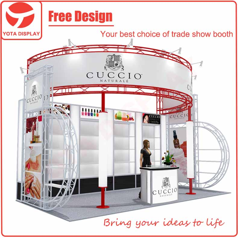 Yota offer Cuccio, 3x6m circle banner trade show exhibition booth