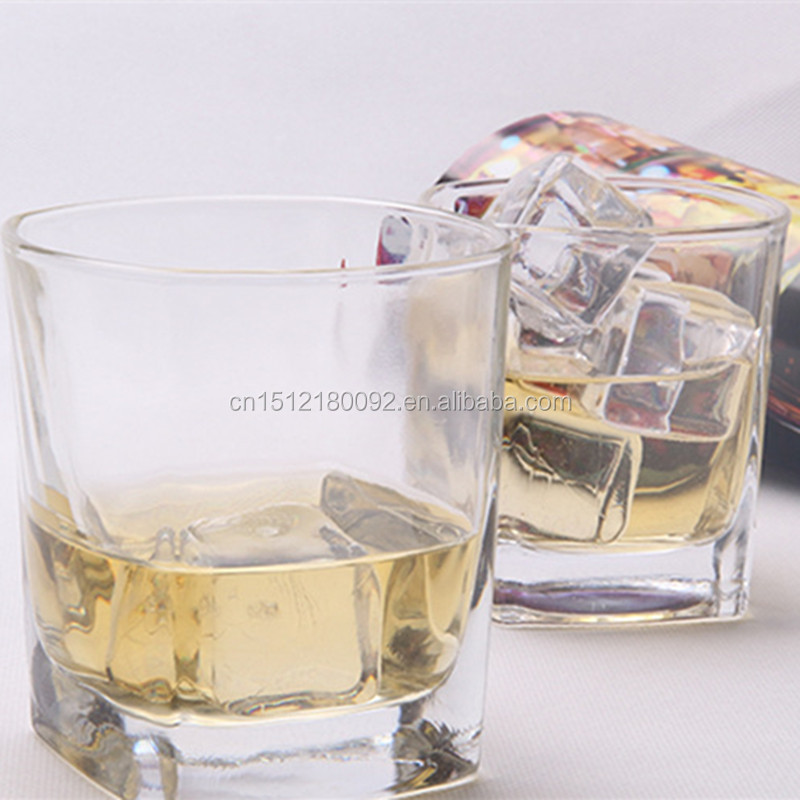 Wholesale square heavy base whiskey glass short glass