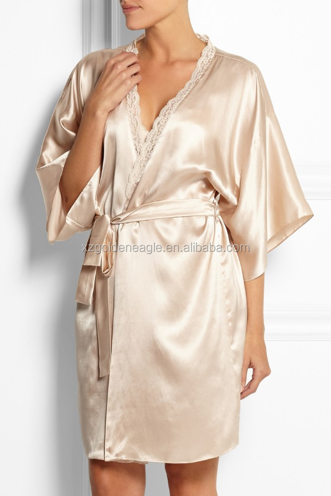 22momme middle length 100% Pure Silk Lounge Robes