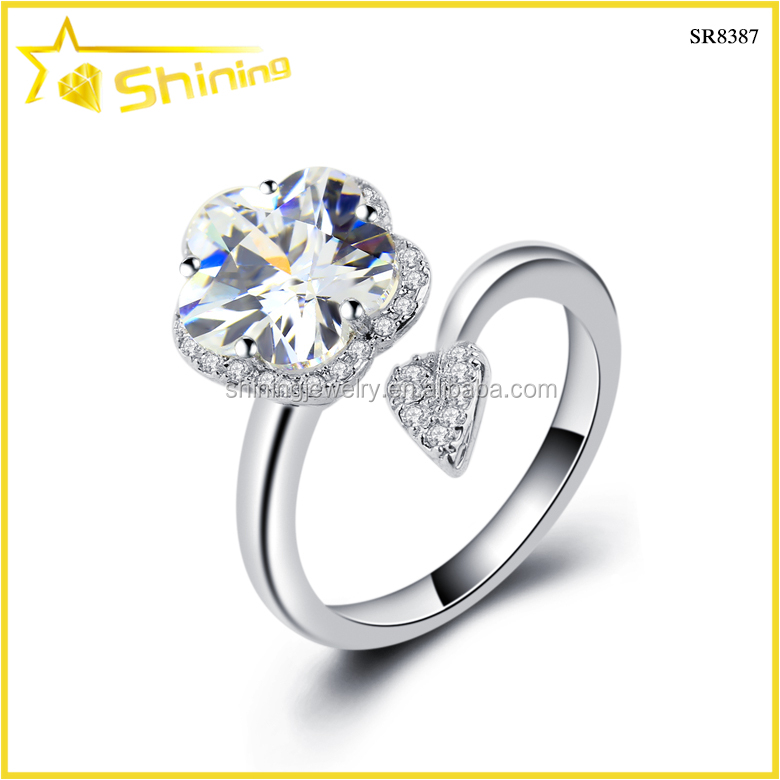 pure 925 sterling silver jewelry flower shape cz diamond paved finger ring designs women