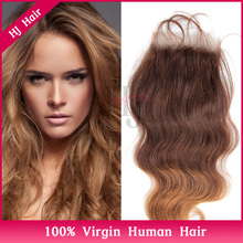 7A Free Shipping Brazilian Virgin 100% Human Hair Closures Body Wave hair Lace Closure 4*4 Middle 3 Way Free Part Bleached YLC34
