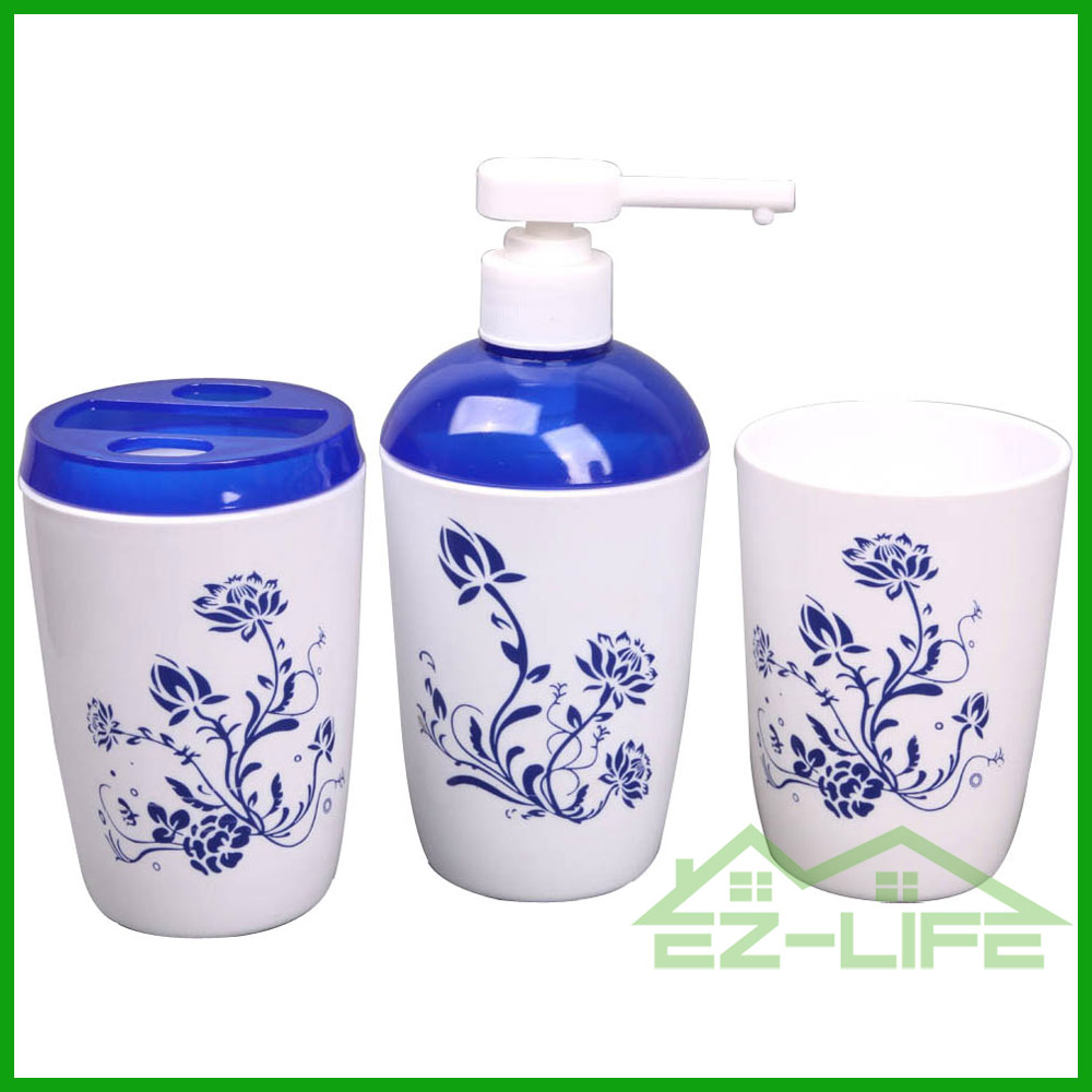 Fashion design plastic bathroom Accessory Set with blue cover