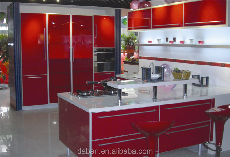 Jisheng gloss white/cherry/yellow kitchen corner cabinet design_different color cabinets design E0,E1 plywood plate