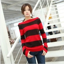 D60845A THE NE SPRING 2014 HAN EDITION OF LONG SLEEVE HEAD WORD BROUGHT THE STRIPE SWEATER