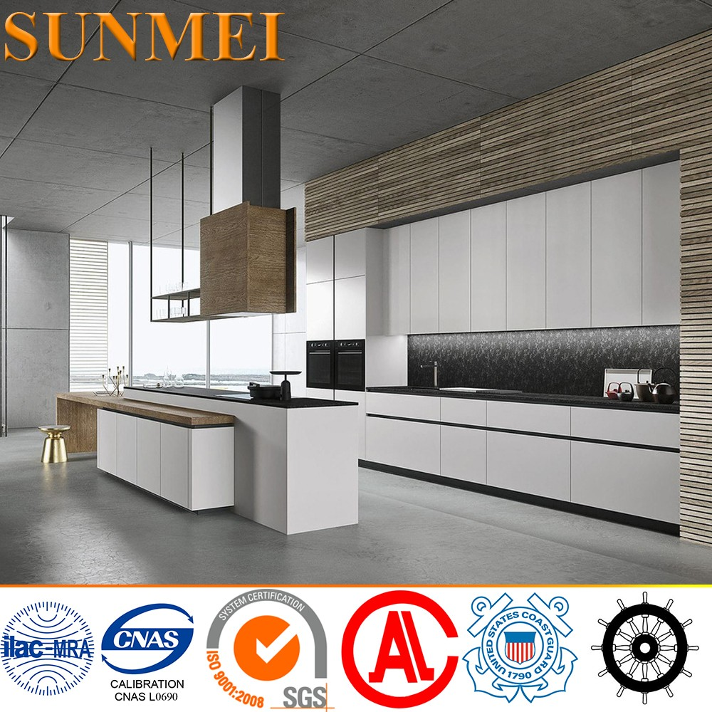 Customized Minimalist mid century modern Stainless Steel Kitchen Cabinets