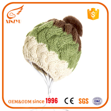 Alibaba boys baby slouchy knitted beanies winter hat with fur pom pom