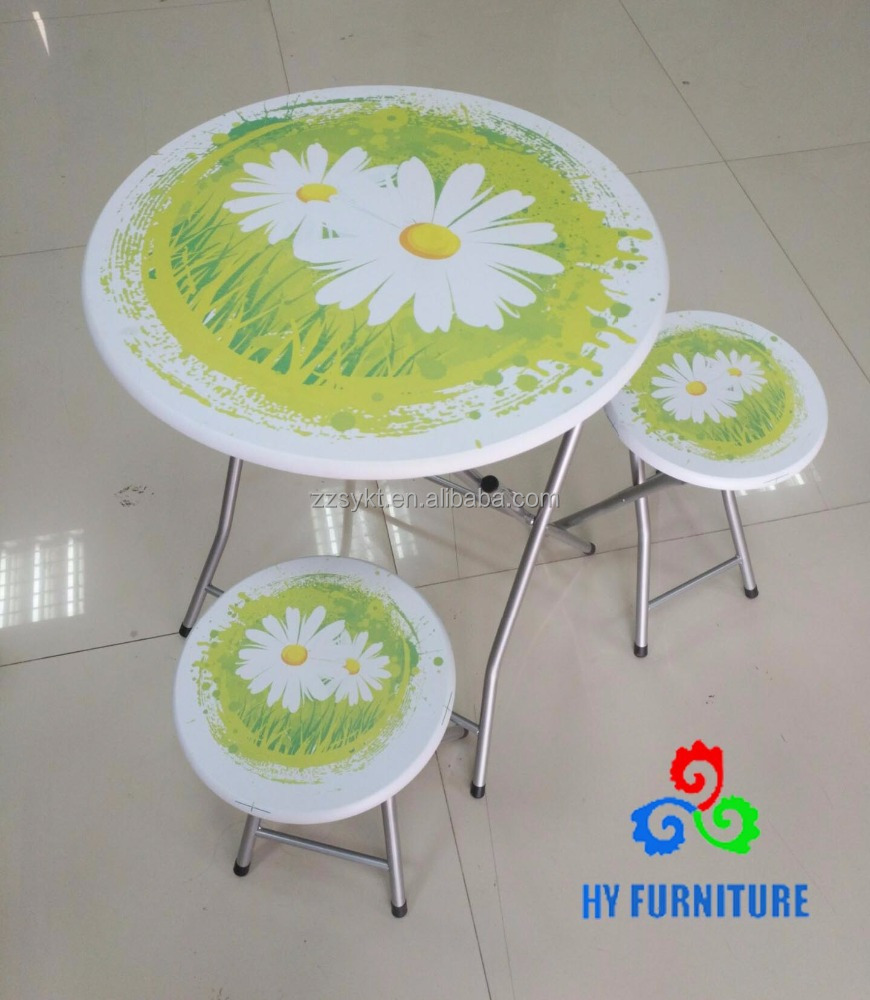 Antique solid wood round folding table and chair set with pvc printing top