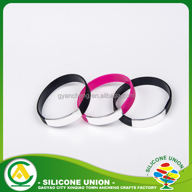 New fashion symbol meaning couple silicone bangle bracelet with metal