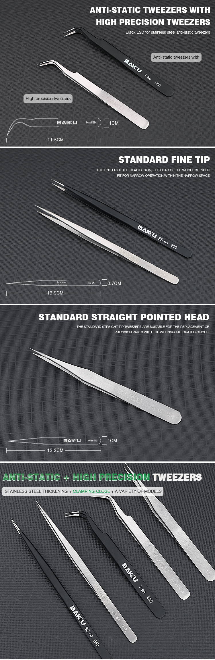 BAKU BK-A8 Professional Smart Precision Volume ESD Stainless Steel Dental Tweezer Set