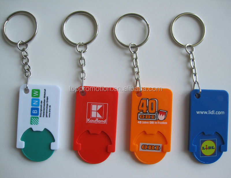 HEYU plastic shopping trolley token key chain for promotion