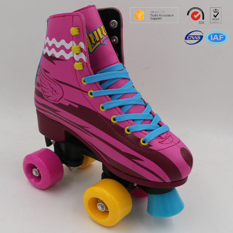 Hot sale most popular wings pattern fixed sizes durable PVC synthetic leather kids soy luna patines roller skates shoes