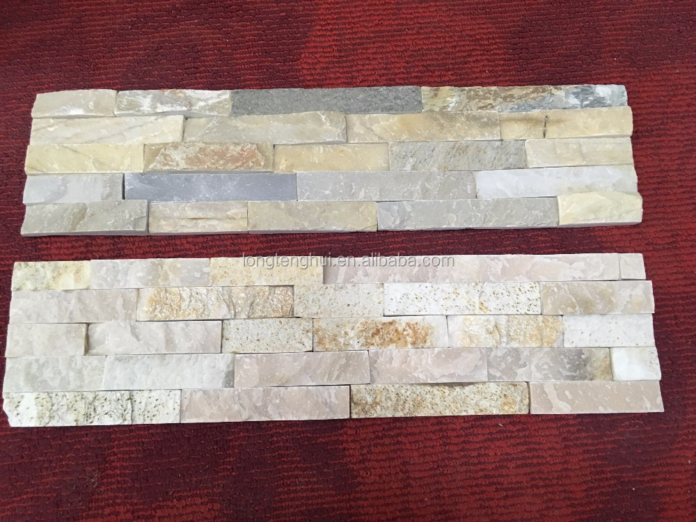 Natural slate gold rock wall cladding
