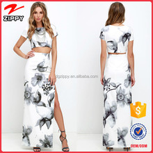 2016 women apparel new printed women dress 2 pieces apparel with custom prints