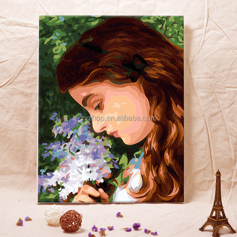 Acrylic paint portrait diy customized oil painting by numbers 40*50 for wall decor
