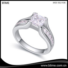 925 Sterling Silver Engagement Ring,Fashion ring Wholesale Jewelry,Square diamond Ring