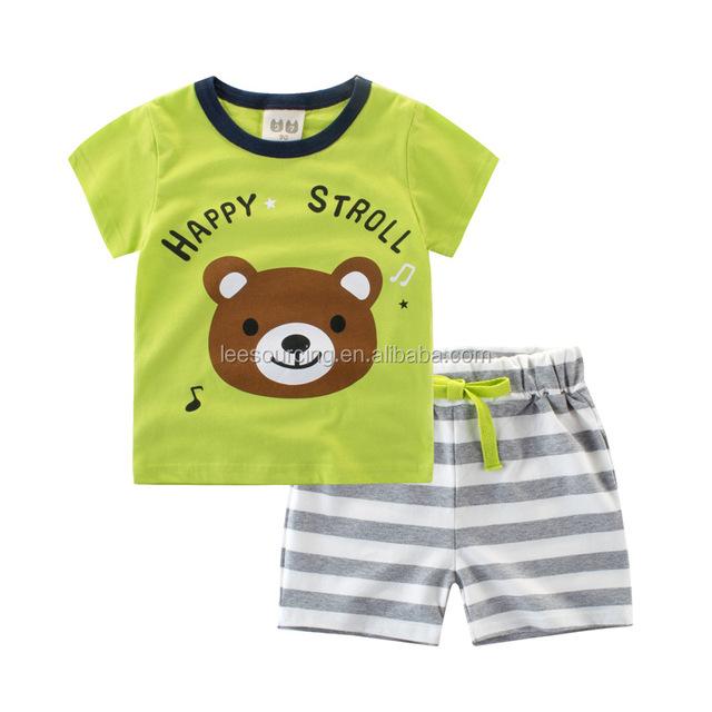 Wholesale hot selling kids clothes baby boy w/ cute teddy bear pattern