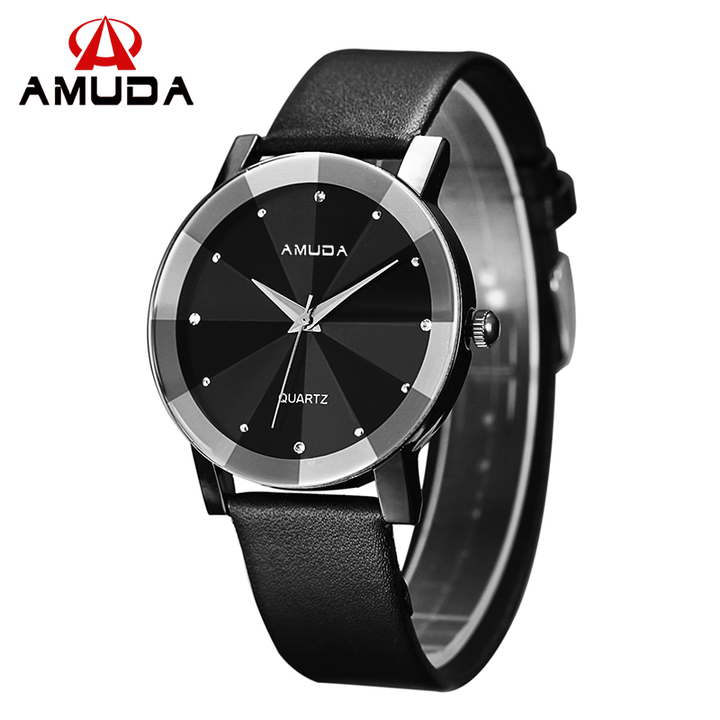 Amuda Fashion Watch Women Leather Strap Casual Diamond Black Watch Outdoor Wrist Watch For Women