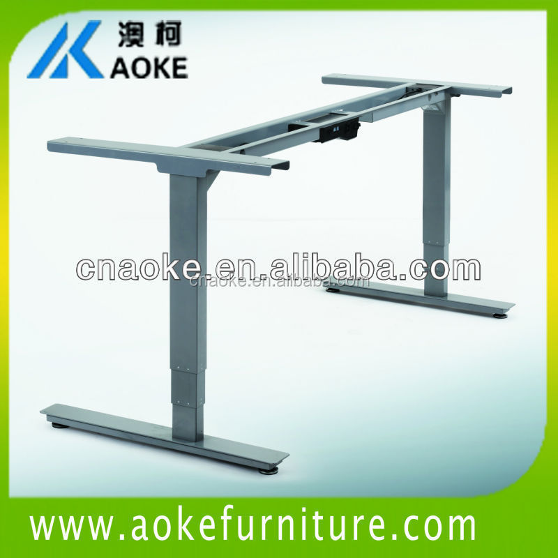 modern office desk with metal height adjustable frame
