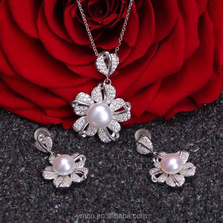 S925 silver 2016 Natural Freshwater Pearl Jewelry Sets Pendant with chain and Earrings Factory Price