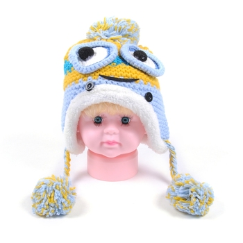 Custom Knitted Knit Slouchy Earflap Baby Hat, Crochet Kids Winter Hat