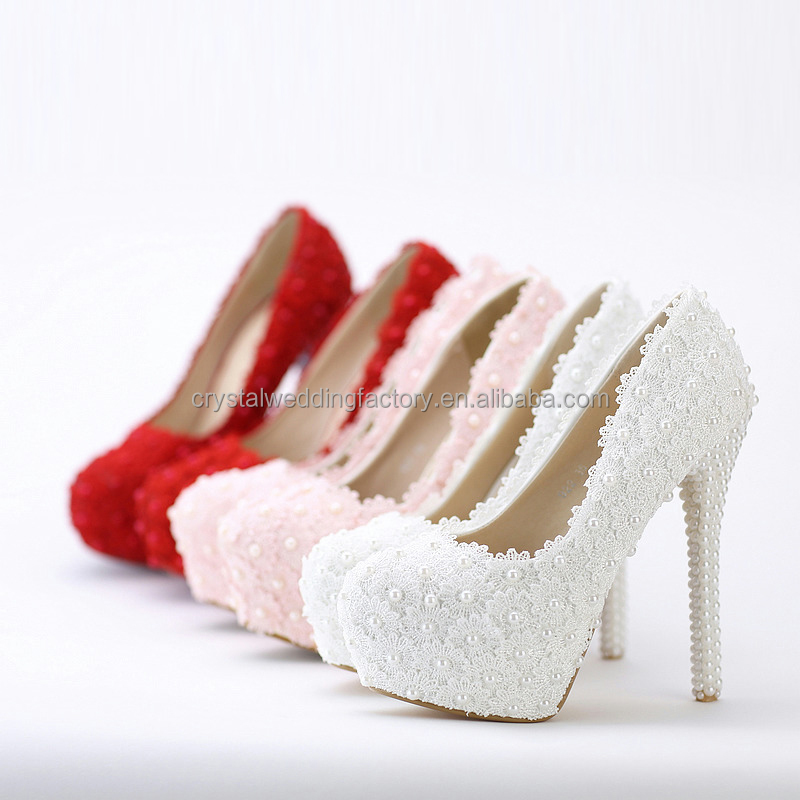 8cm/10cm/12cm/14cm Women Fashion Sweet White Flower Lace Platform High Heels Pearls Lace Bride Wedding Shoes MS932