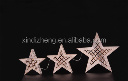 New design with high quality wooden christmas star shaped led light
