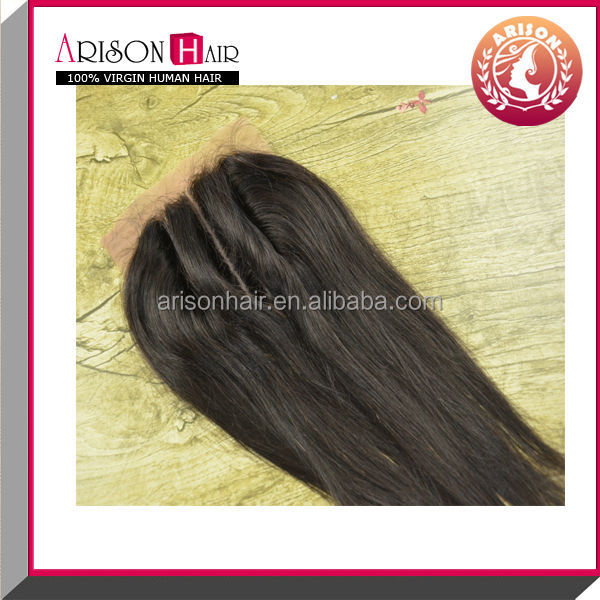 4*4 swiss lace /silk base straight / three part closure virgin Brazilian hair lace closure