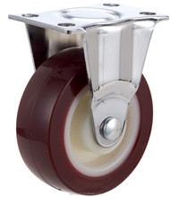 50mm red PU small caster rigid wheels for office chair