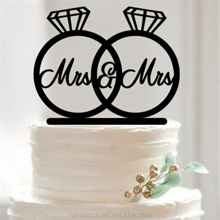 Acrylic Mr&Mrs engagement wedding cake topper