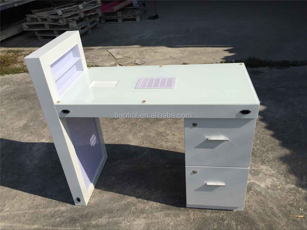white nail table with 4 drawers nail dryer table with uv light for ...
