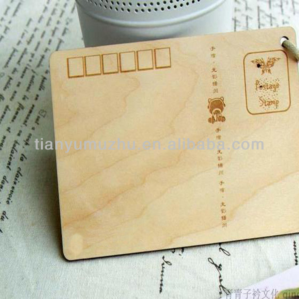 Wholesale full color ecgrave 3D wooden postcards